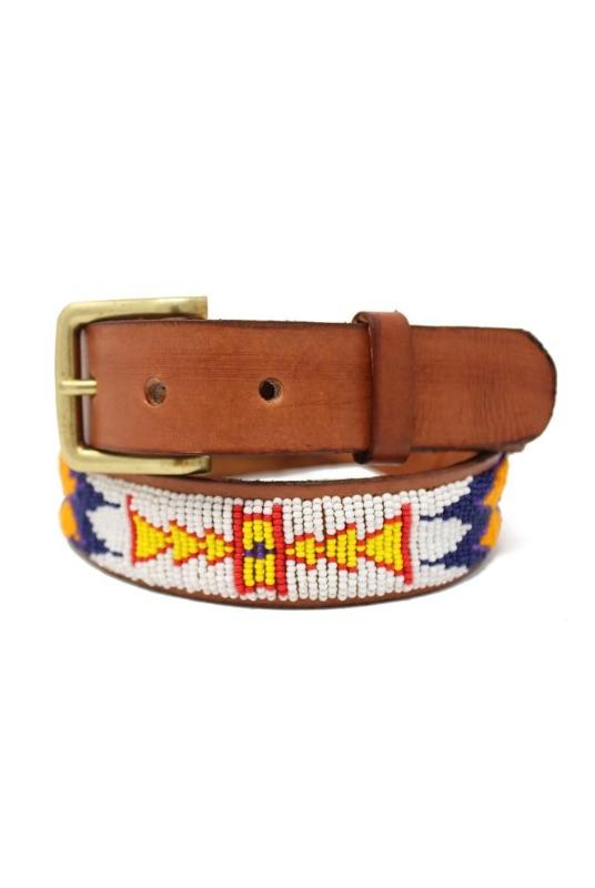 Kalima White/Orange Beaded Leather Belt-Aspiga-MAMOQ