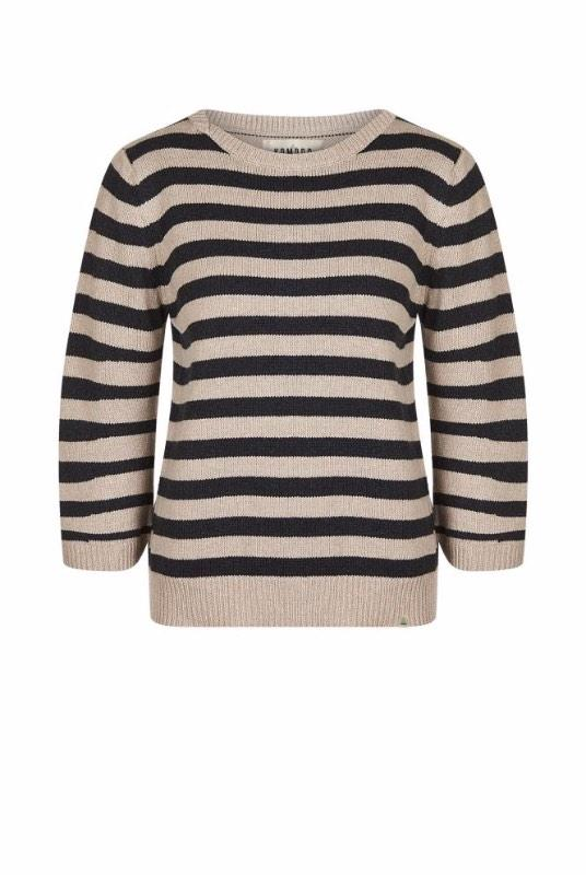 Karen Grey Striped Organic Cotton Jumper-Komodo-MAMOQ