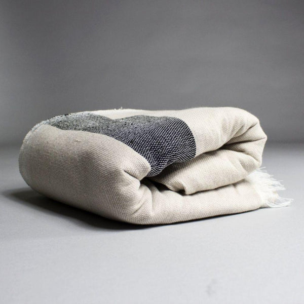 Karim Beige Cotton Moroccan Throw-Harfi-MAMOQ