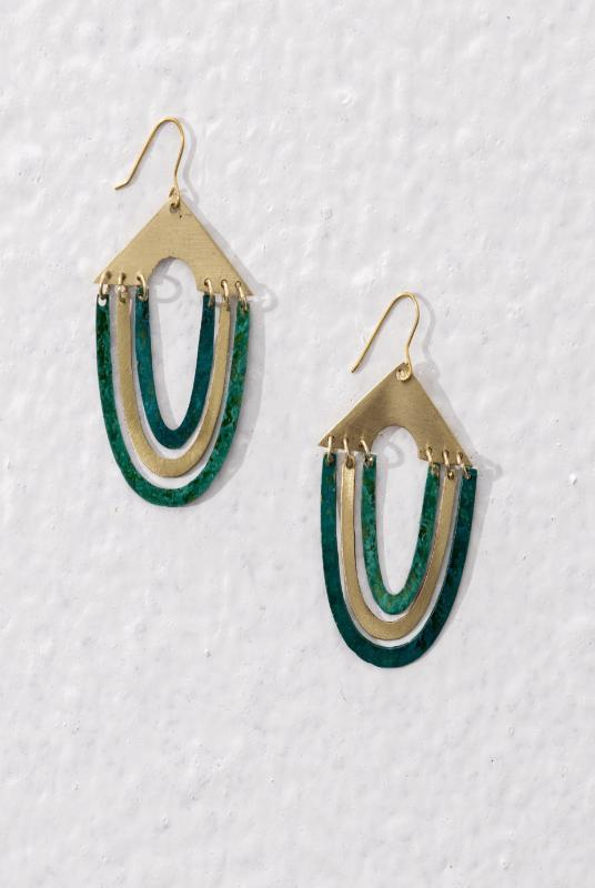 Keya Gold and Green Brass Earrings-Jewellery-Komodo-MAMOQ