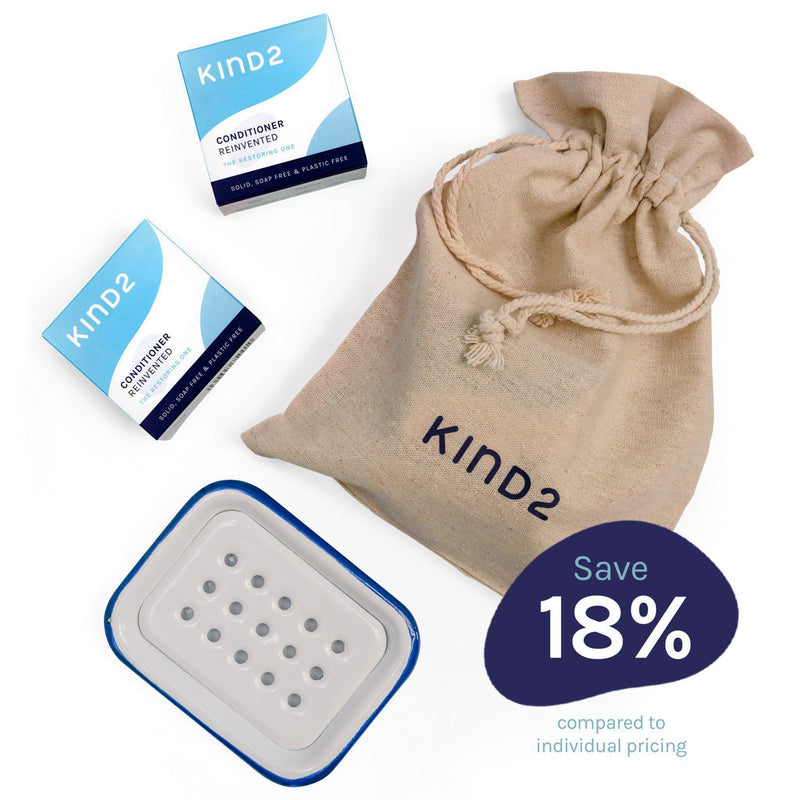 KIND2 Shampoo and Conditioner Bar with Enamel Tray Gift Set-Bundle-KIND2-MAMOQ