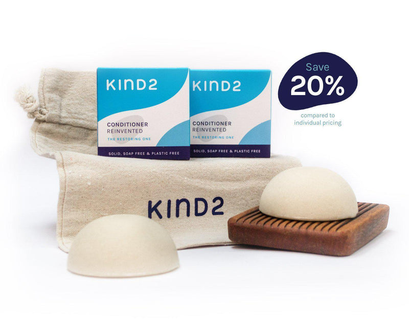 KIND2 Shampoo and Conditioner Bar with Wooden Tray Gift Set-Bundle-KIND2-MAMOQ
