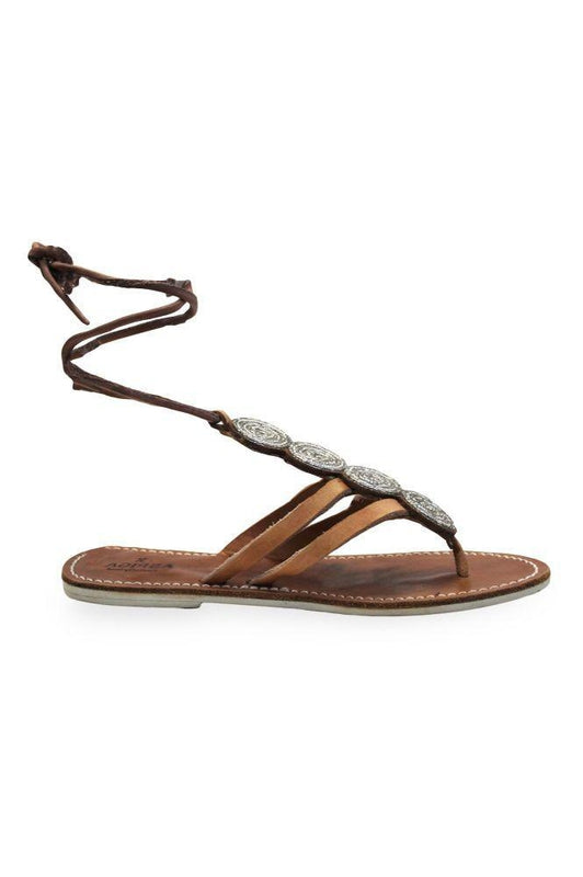 Komosa Silver Leather Ankle Strap Sandals-Aspiga-MAMOQ