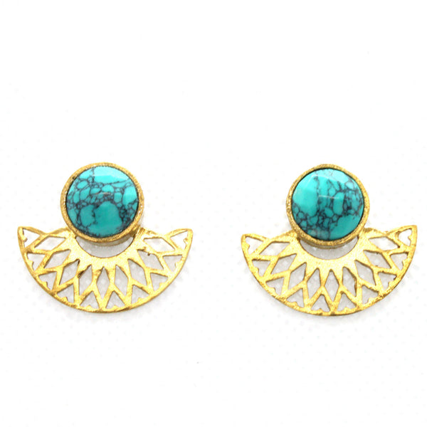Krisha Half Moon with Quartz Gemstone Gold Plated Earrings-jewellery-Harfi-MAMOQ