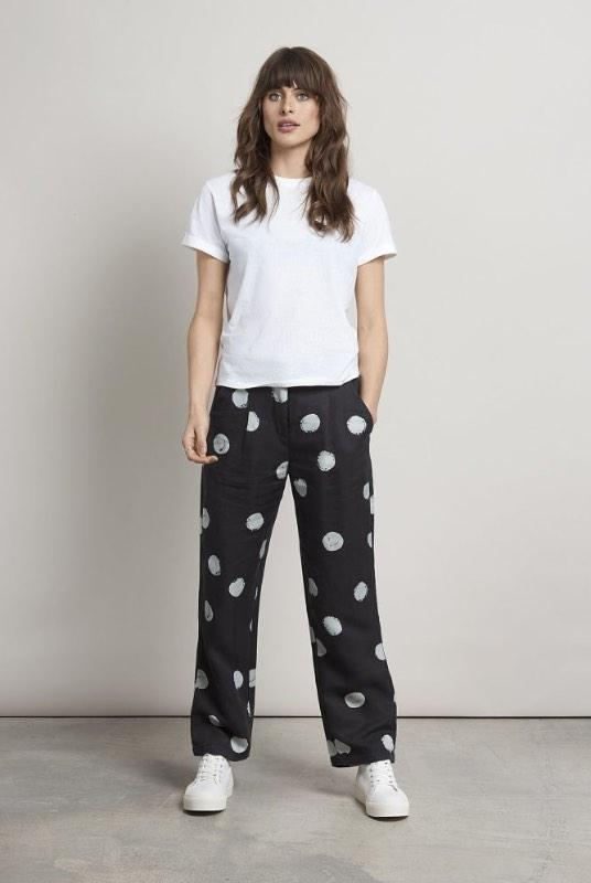 Kusama Black Polka Dot Tencel Straight Leg Trousers-Komodo-MAMOQ