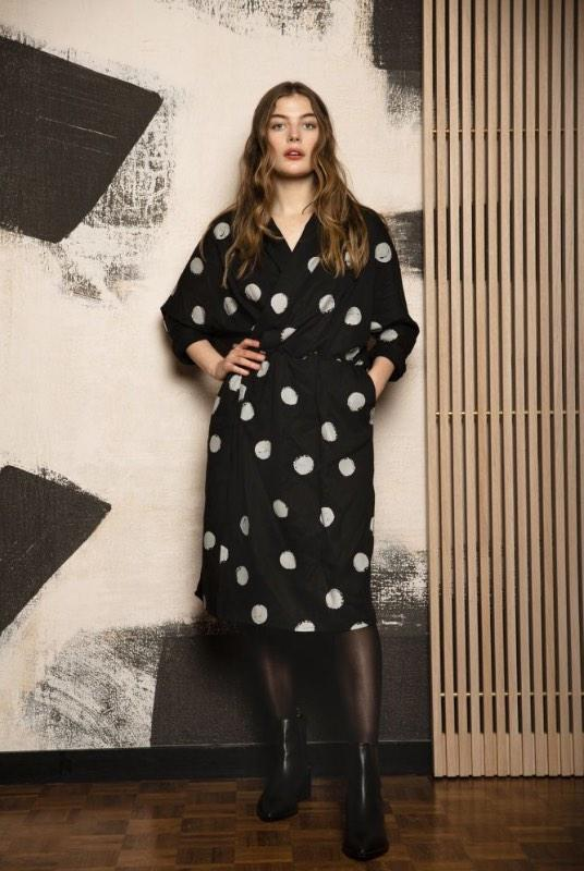 Kusama Black Polka Dot Tencel Wrap Dress-Komodo-MAMOQ