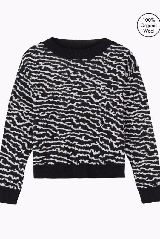 Lake Touch Black Merino Wool Jumper-Le Pirol-MAMOQ