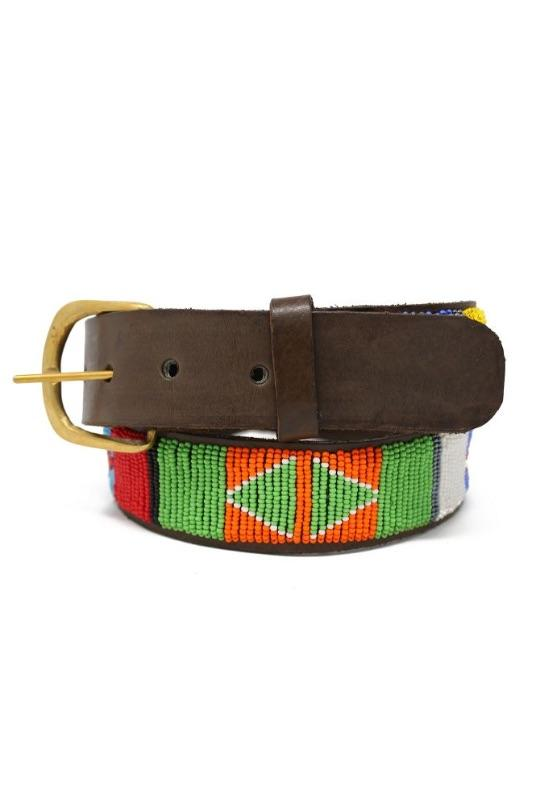 Lakuru Multicoloured Masai Leather Belt-Aspiga-MAMOQ