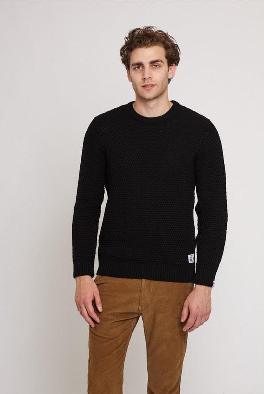 Langley Black Merino Wool Moss Stitch Jumper-Absolutely Bear-MAMOQ