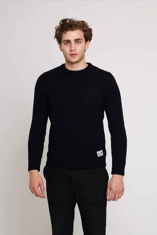 Langley Navy Merino Wool Moss Stitch Jumper-Absolutely Bear-MAMOQ