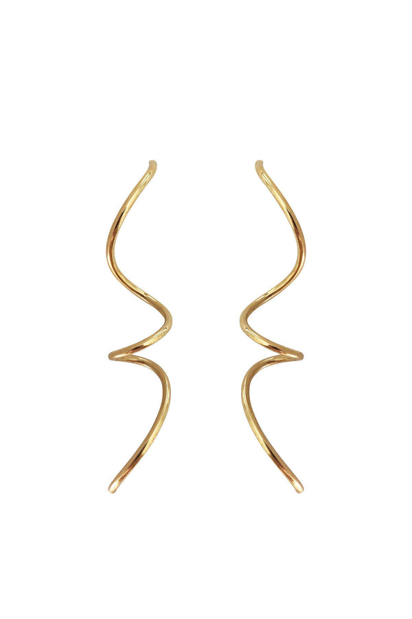 Large Spiral Gold Plated Silver Earrings-Earrings-laoehlé-MAMOQ