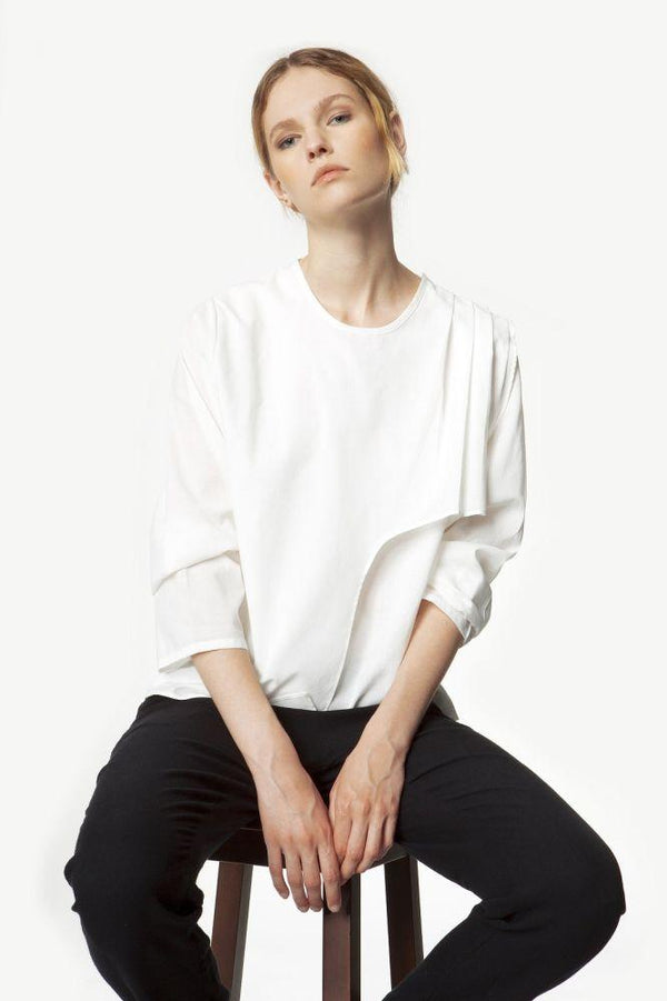 Layered Organic White Pleated Shirt-Rakha-MAMOQ
