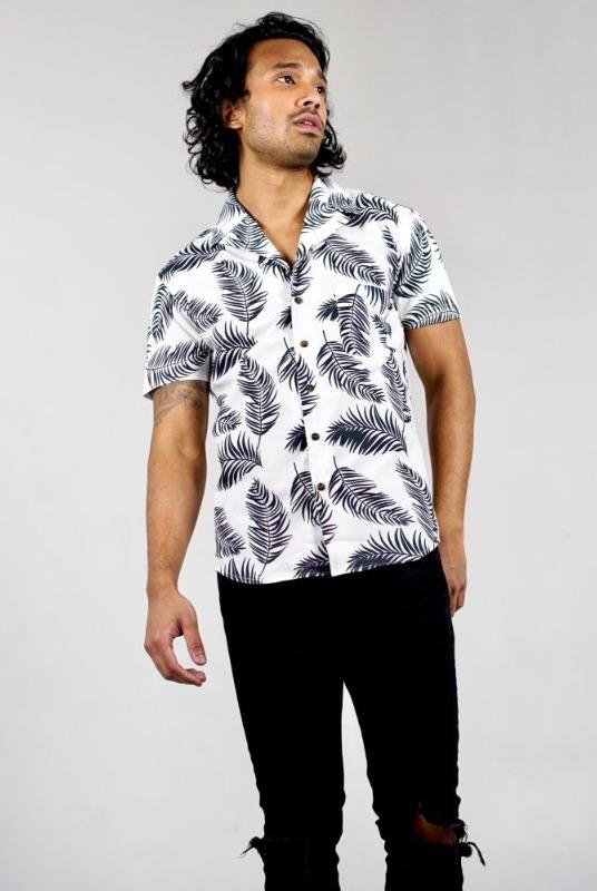 Leaf Print White Organic Cotton Short Sleeve Bowling Shirt-Wynad-MAMOQ