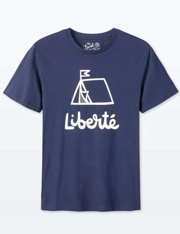 Liberté Unisex Navy Organic Cotton T-Shirt-The Level Collective-MAMOQ
