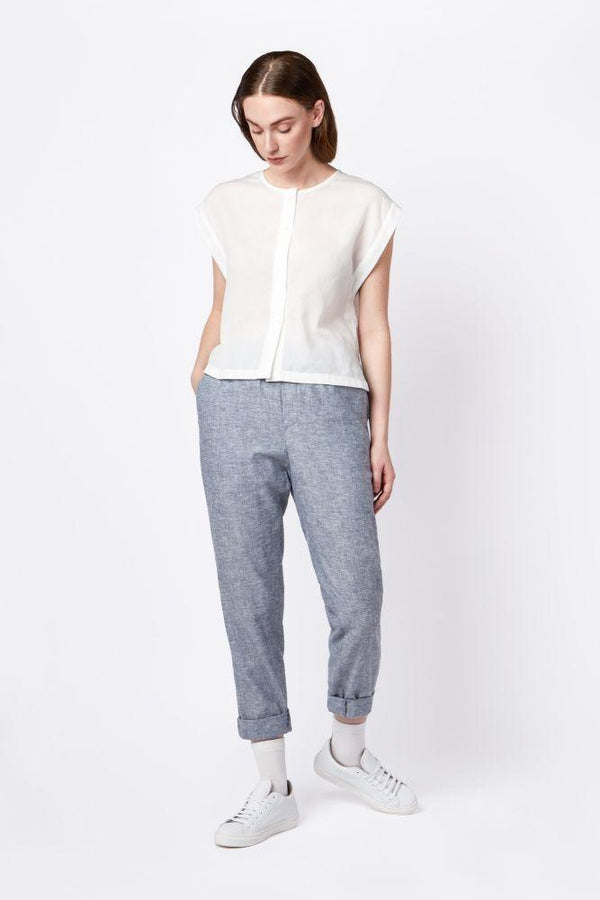 Light Blue Hemp Trousers-Elsien Gringhuis-MAMOQ