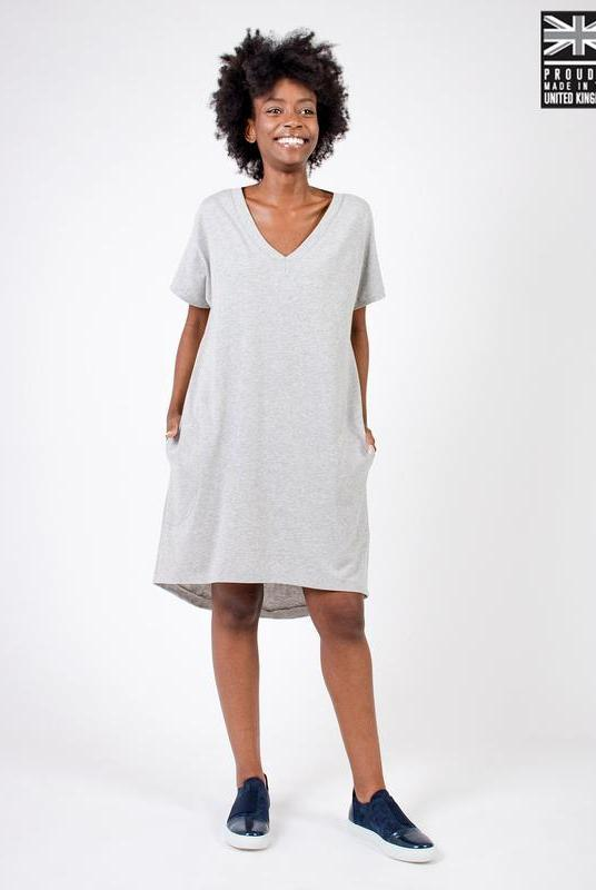 Light Grey Organic Cotton T-Shirt Dress-Zola Amour-MAMOQ