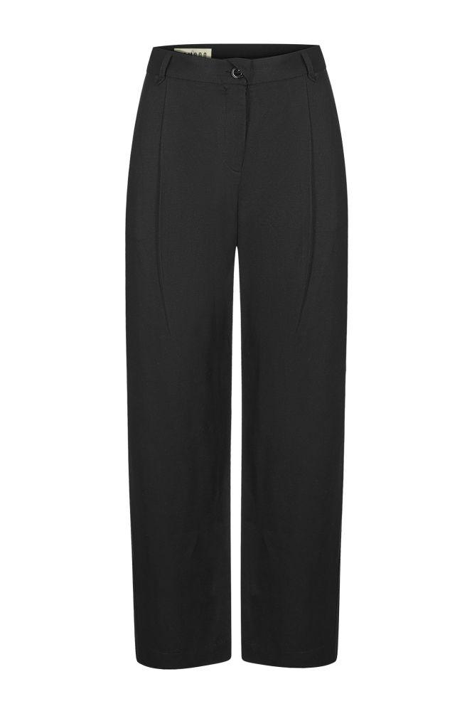 Lila Black Tencel Straight Leg Trousers-Komodo-MAMOQ
