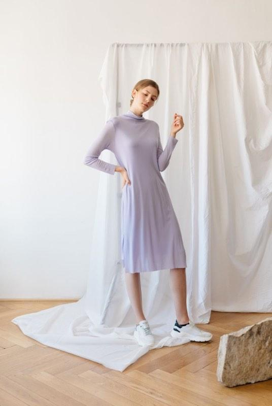 Lila Purple Tencel Layer Turtleneck Dress-ADVA-MAMOQ