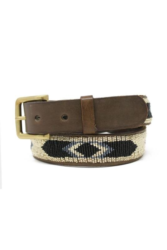 Lima Light Gold Beaded Leather Belt-Aspiga-MAMOQ