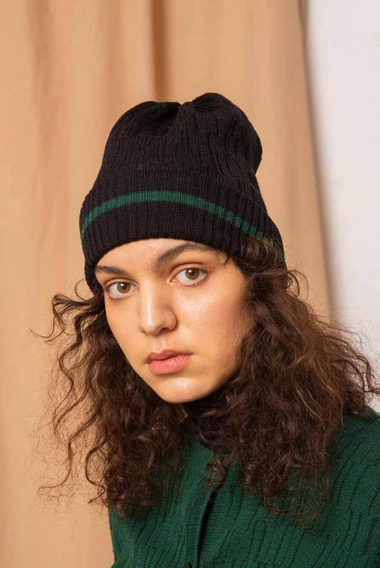Line Black Beanie-Accessories-TAUKO-MAMOQ