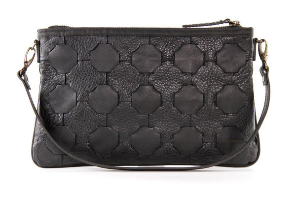 Livari Black Up-cycled Leather Clutch Bag-Elvis & Kresse-MAMOQ