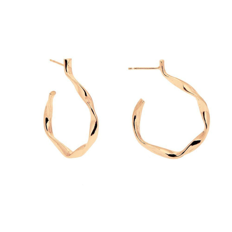 Loka Gold Twisted Hoop Earrings-ANUKA Jewellery-MAMOQ