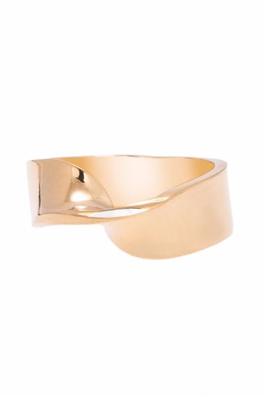 Loka Single Twist 18K Gold Plated Ring-ANUKA Jewellery-MAMOQ