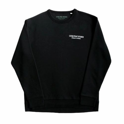 Long Sleeved Organic Cotton Embroidered Sweatshirt - Black-Goose Studios-MAMOQ