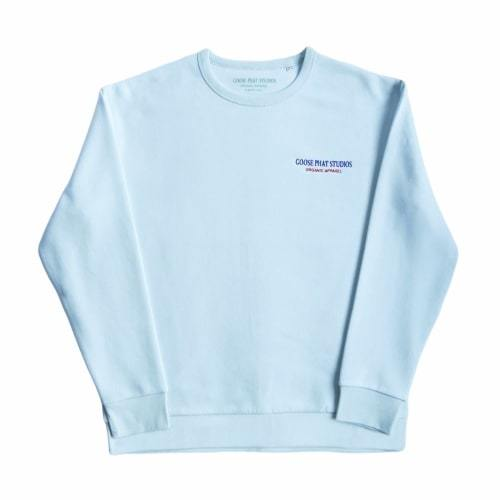 Long Sleeved Organic Cotton Embroidered Sweatshirt - Blue-Goose Studios-MAMOQ