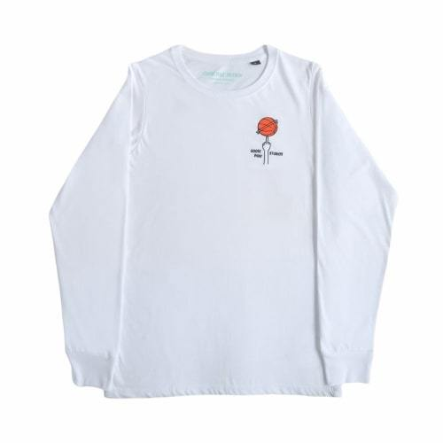 Long Sleeved Organic Cotton T Shirt with Embroidered Logo - White-Goose Studios-MAMOQ