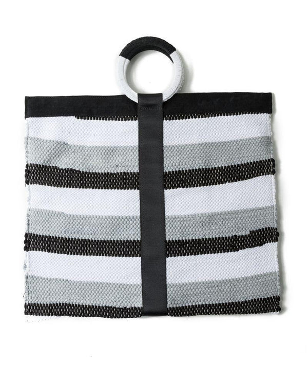 Lucia White and Grey Up-cycled Tote Bag-Belo-MAMOQ