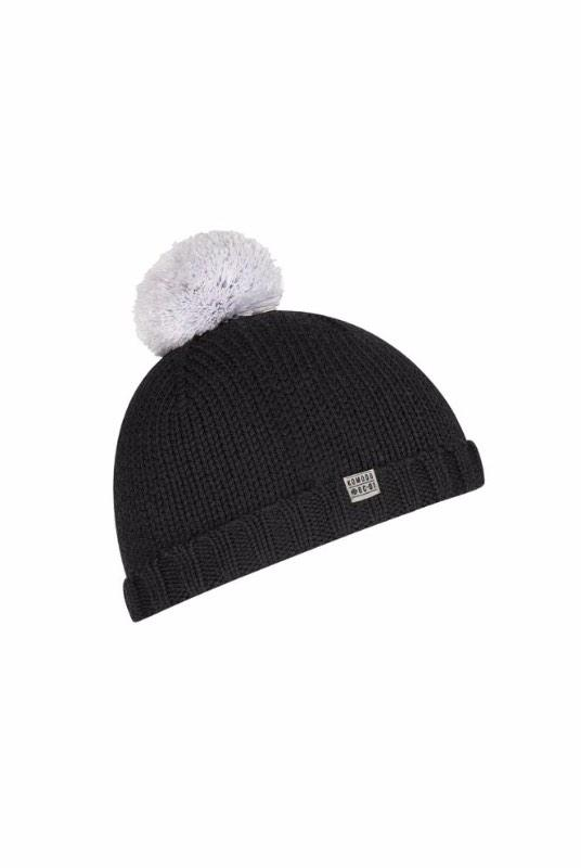 Lucy Black Merino Wool Bobble Hat-Komodo-MAMOQ