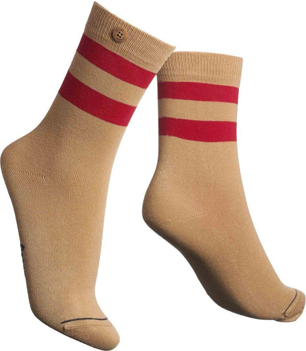 Lurex Tube Beige Organic Cotton Socks-Qnoop-MAMOQ