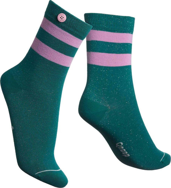 Lurex Tube Glass Green Organic Cotton Socks-Qnoop-MAMOQ