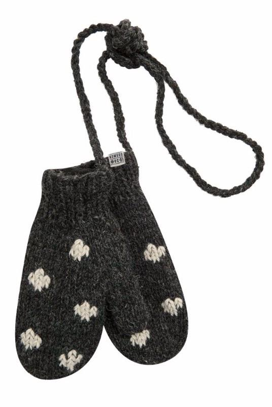 Maeve Grey Dot Recycled Wool Mittens-Komodo-MAMOQ