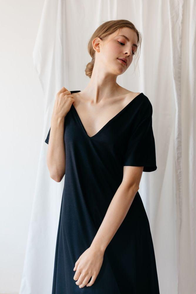 Make It Happen Black Organic Cotton Circle Dress-ADVA-MAMOQ