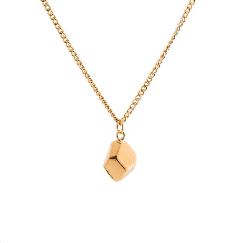 Mani Gold Half Faceted Charm Necklace-ANUKA Jewellery-MAMOQ