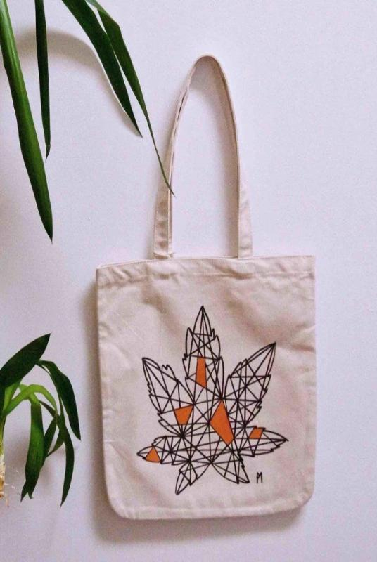 Maple Geometry Organic Cotton Tote Bag-Soumati-MAMOQ