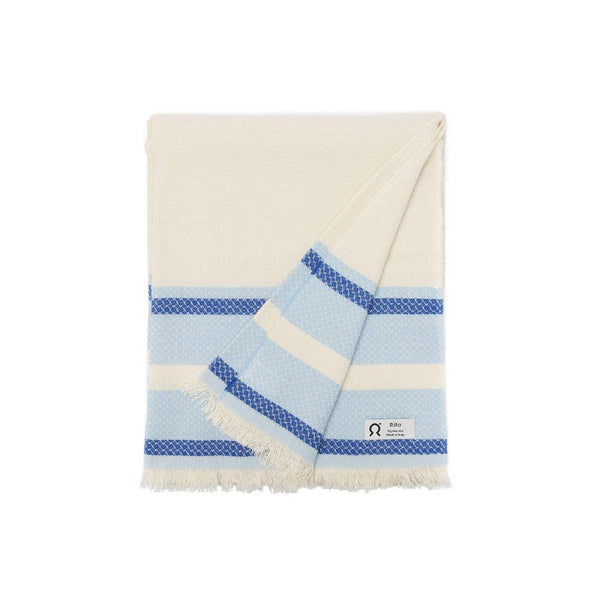 Marinetti Terra Blue Striped Cotton Towel-Rifò-MAMOQ