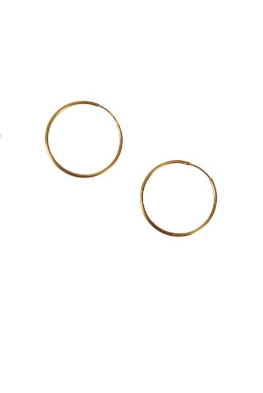 Medium 18K Gold Plated Hoop Earrings-Birdsong-MAMOQ