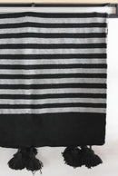 Mehdi Striped Cotton Moroccan Throw-Harfi-MAMOQ