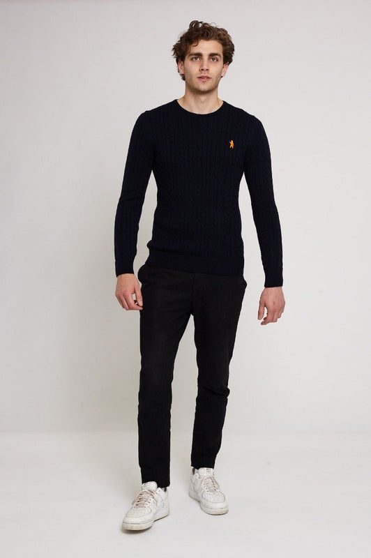 Melbury Navy Cotton Cable Knit Jumper-Absolutely Bear-MAMOQ