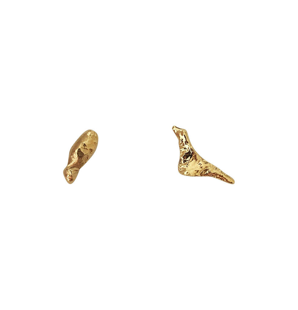 Melted Gold Plated Silver Earrings-laoehlé-MAMOQ