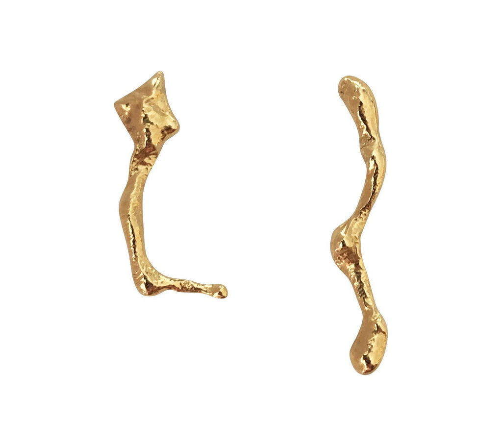 Melted II Gold Plated Silver Earrings-laoehlé-MAMOQ