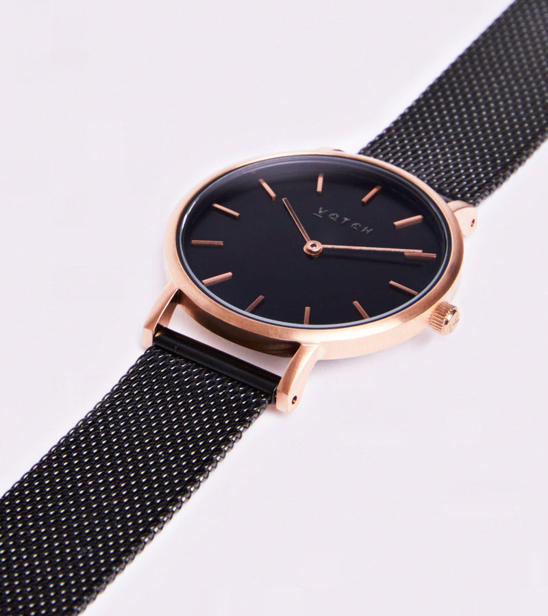 Mesh Petite Black & Rose Gold Stainless Steel Watch-Watch-Votch-MAMOQ