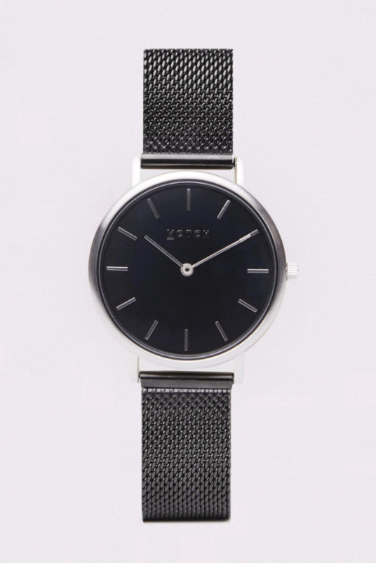 Mesh Petite Black & Silver Stainless Steel Watch-Watch-Votch-MAMOQ