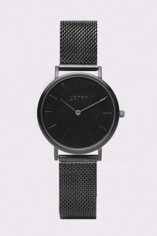 Mesh Petite Black Stainless Steel Watch-Watch-Votch-MAMOQ