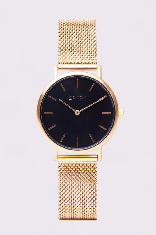 Mesh Petite Gold & Black Stainless Steel Watch-Watch-Votch-MAMOQ