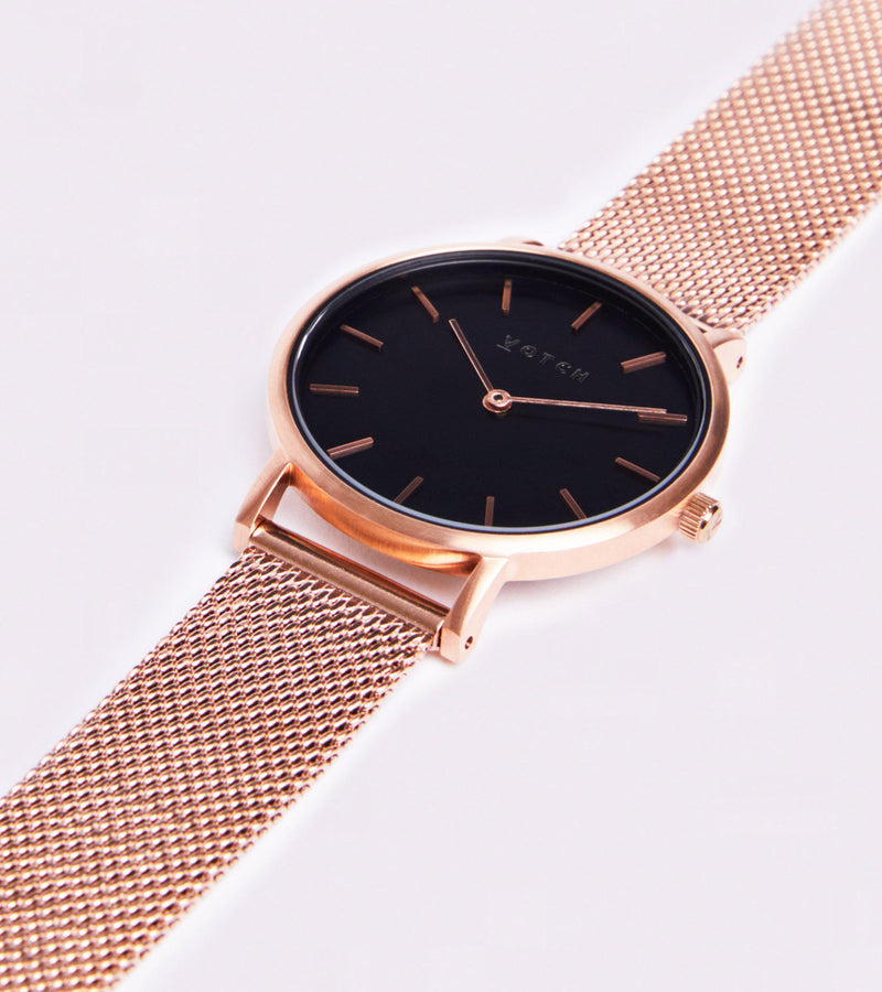 Mesh Petite Rose Gold & Black Stainless Steel Watch-Watch-Votch-MAMOQ