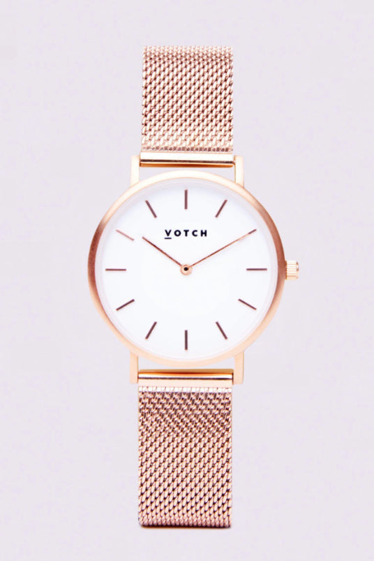 Mesh Petite Rose Gold Stainless Steel Watch-Watch-Votch-MAMOQ
